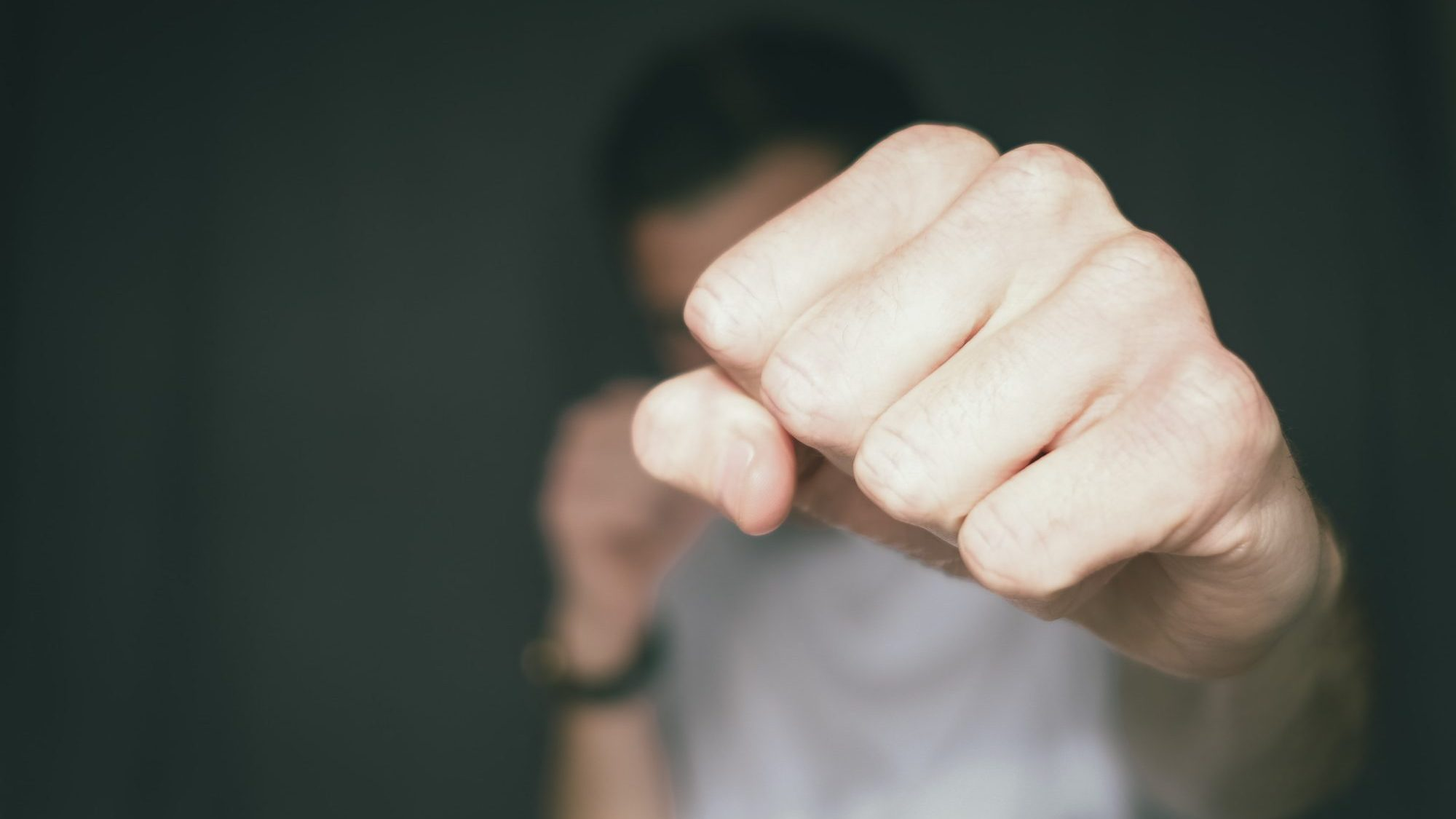 An image of a fist, extended in a punch towards the camera.